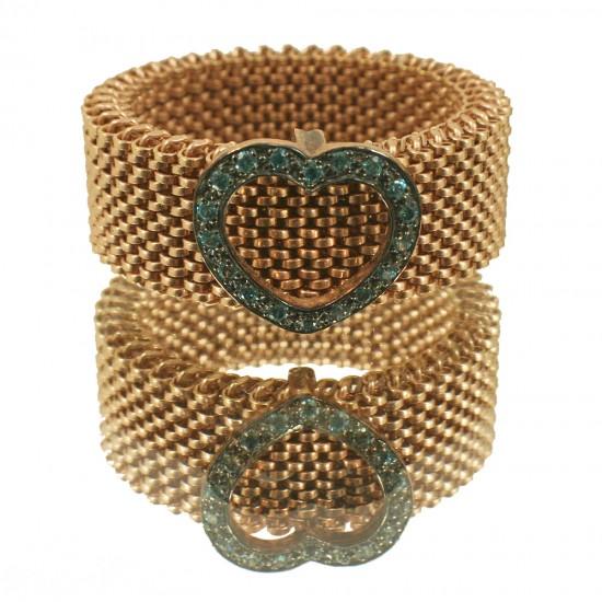Δαχτυλίδι ροζ χρυσό Κ9 με μπλέ ζιργκόν και γάμπα ελατήριο από ατσάλι Νο. 59