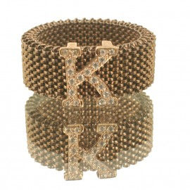 Ring rose gold K9 with monogram K with white zircons  295M