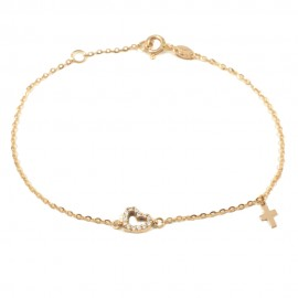 Rose gold bracelet K14 with heart with white zircons and Cross  1017R