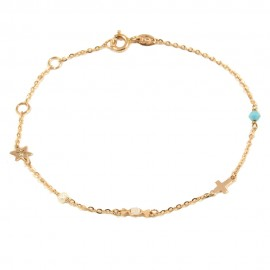 Bracelet rose gold K14 with Cross star and pearl