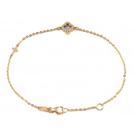 Rose gold bracelet K14 with Cross with white zircons and mother of pearl Bracelet length 18 cm