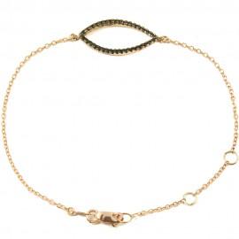 Bracelet rose gold K9 tree leaf with black platinum and black zircons Bracelet length 18 cm