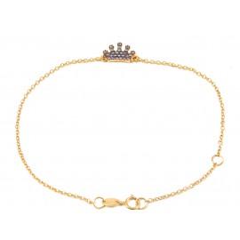 Bracelet pink gold crown K9 and zircon in the color of amethyst Bracelet length 18 cm