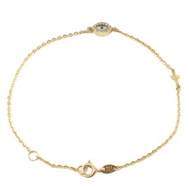 Gold bracelet K14 with eye and Cross with white zircons and mother of pearl Bracelet length 18 cm