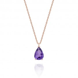 Necklace in rose gold K18 with natural Amethyst 0.64ct in the shape of a drop N0688