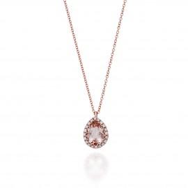 Κολιέ σε ροζ χρυσό Κ18 με φυσικό Μοργκανίτη σε σχήμα σταγόνας στο κέντρο και λευκά διαμάντια N0910