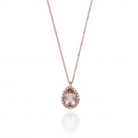 Necklace in rose gold K18 with natural Morganite in the shape of a drop and  white diamonds N0910