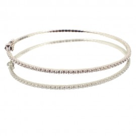 Bracelet in white gold K14 handcuffs with white zircons