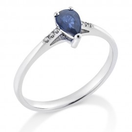 Ring in white gold K18 with sapphire in the shape of a drop and white diamonds R0667