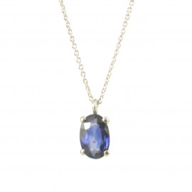 Necklace in white gold K18 with natural Sapphire 0.49ct in oval shape N0690