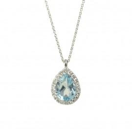 Κολιέ σε λευκό χρυσό Κ18 με Sky blue Topaz σε σχήμα σταγόνας στο κέντρο και λευκά διαμάντια N0708