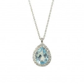 Necklace in white gold K18 with natural Sky blue Topaz in the shape of a drop and white diamonds N0708