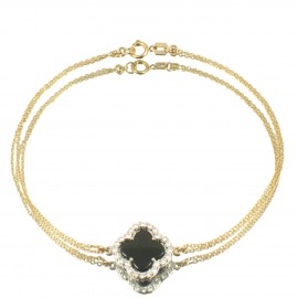 Gold bracelet K14 with Cross with natural white zircons and black enamel Cross