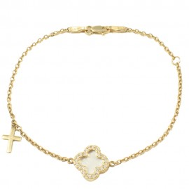 Bracelet in gold K14 with Cross with white zircons and mother of pearl Bracelet length 18.5 cm