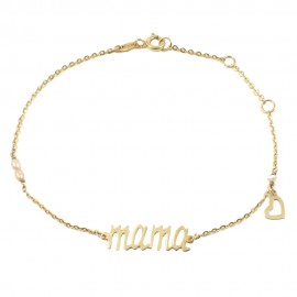 Bracelet in gold K14 with the word mama with heart and pearls Bracelet length 18.5 cm
