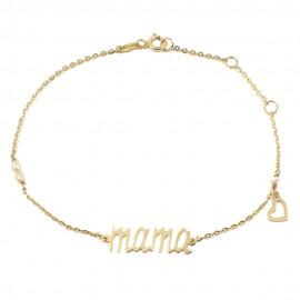 Βραχιόλι σε χρυσό Κ14 με την λέξη mama με καρδιά και μαργαριτάρια Μήκος βραχιολιού 18.5 εκατοστά