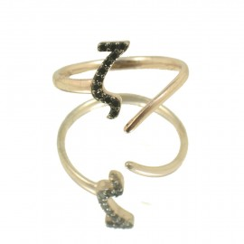Silver chevalier ring with monogram Z with rose gold plated and black zircons