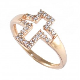 Ring made of silver chevalier with the design of the Cross with rose gold plating and white zircons