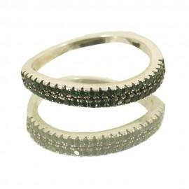 Δαχτυλίδι από ασήμι μισόβερο με διπλή σειρά πράσινα ζιργκόν Νο. 55