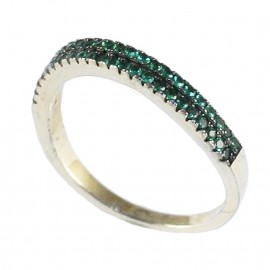 Sterling silver ring with double row green zircons No. 55