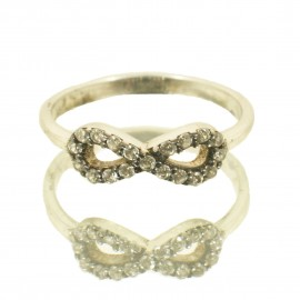 Ring made of silver with infinity design and white zircons No. 52