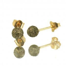 Σκουλαρίκια χρυσά Κ14 μπίλιες με διαμαντάρισμα και μαύρη πλατίνα 06517