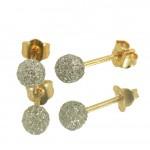 Σκουλαρίκια χρυσά Κ14 μπίλιες με διαμαντάρισμα σε γκρί χρώμα 06517G