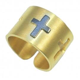 Δαχτυλίδι από ασήμι με σχέδιο Σταυρό σε μαύρο χρώμα και επιχρύσωμα