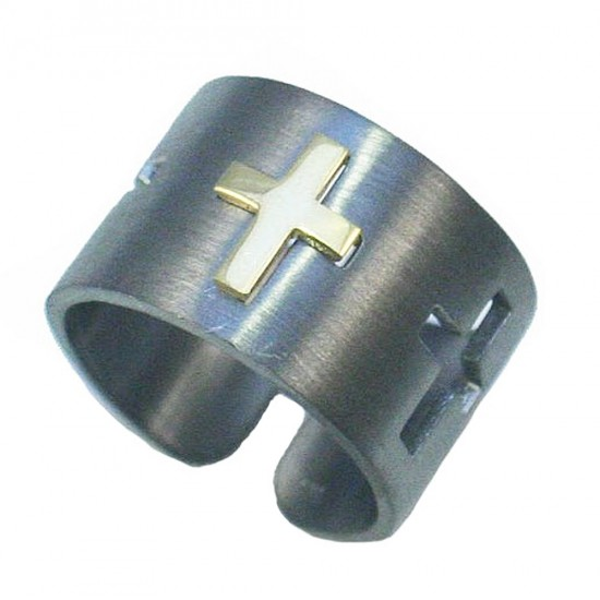 Silver ring with design Gold plated cross and black platinum satin