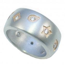 Δαχτυλίδι από ασήμι με σχέδια αστέρι ματάκι ρόμβος με λευκά ζιργκόν και ροζ επιχρύσωμα