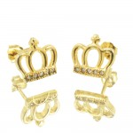 Silver earrings with gold plated crown design and white zircons S1783