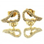 Silver earrings with angel wings with gold plating and white zircons S1819