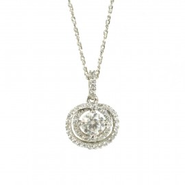 Necklace white gold K14 with rose design and white zircons U3030