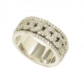 Δαχτυλίδι από ασήμι ολόβερο με λευκά ζιργκόν 3533