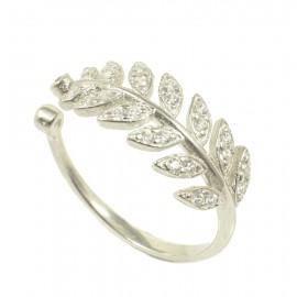 Δαχτυλίδι από ασήμι laurel branch με λευκά ζιργκόν 3539