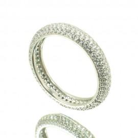 Δαχτυλίδι από ασήμι ολόβερο με λευκά ζιργκόν 3642