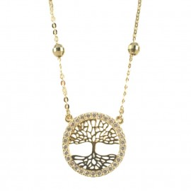Necklace in gold K14 with the tree of life and European AAA quality zircon in white color 2423T