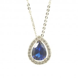 Necklace in white gold K14 with a drop-shaped rosette 2322