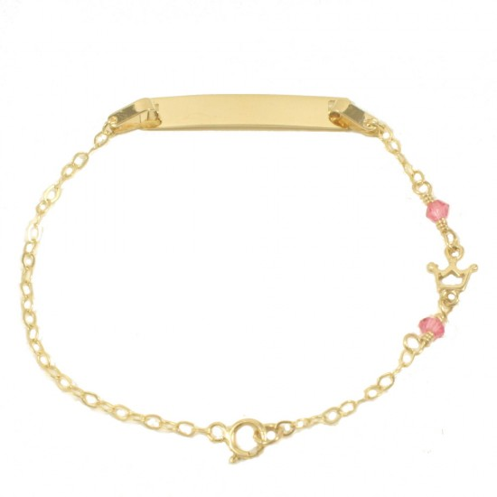 Children's bracelet in K9 gold with the design of the crown and quartz 14512