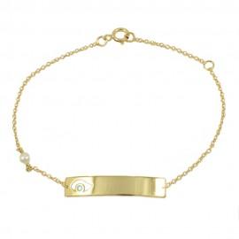 Children's bracelet in K14 gold with eye design for baptism 132233