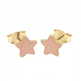 Παιδικά σκουλαρίκια σε χρυσό Κ14 με σχέδιο τα αστέρια με ροζ σμάλτο 0524