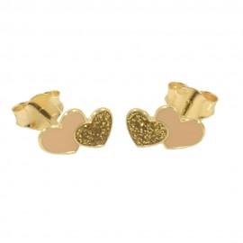 Παιδικά σκουλαρίκια σε χρυσό Κ14 με σχέδιο καρδιές με ροζ σμάλτο 0525