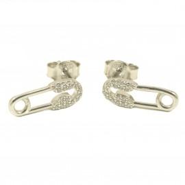 Σκουλαρίκια από ασήμι με σχέδιο παραμάνα με λευκά ζιργκόν 3036