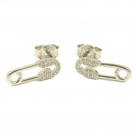 Sterling silver earrings with nanny design and white zircons  3036