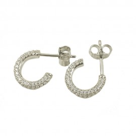Sterling silver earrings rings with white zircon 2944